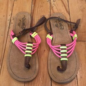 Neon yellow and pink sandals